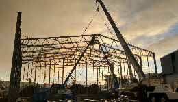 Steel hall construction for cold store in Iceland