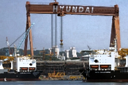 Survey works at Hyundai shipyard, South Korea