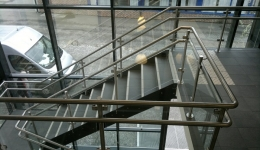 Stairs and entresol glass railings